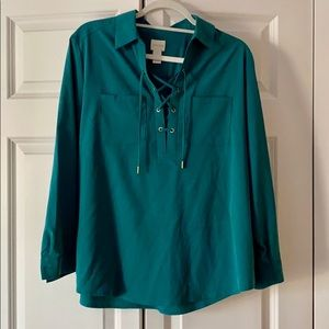 CHICO'S | Silky Blouse Lace up Tie Front Top Shirt